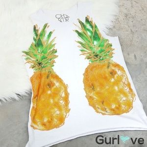 Chaser Pineapple White Tank Top Size S